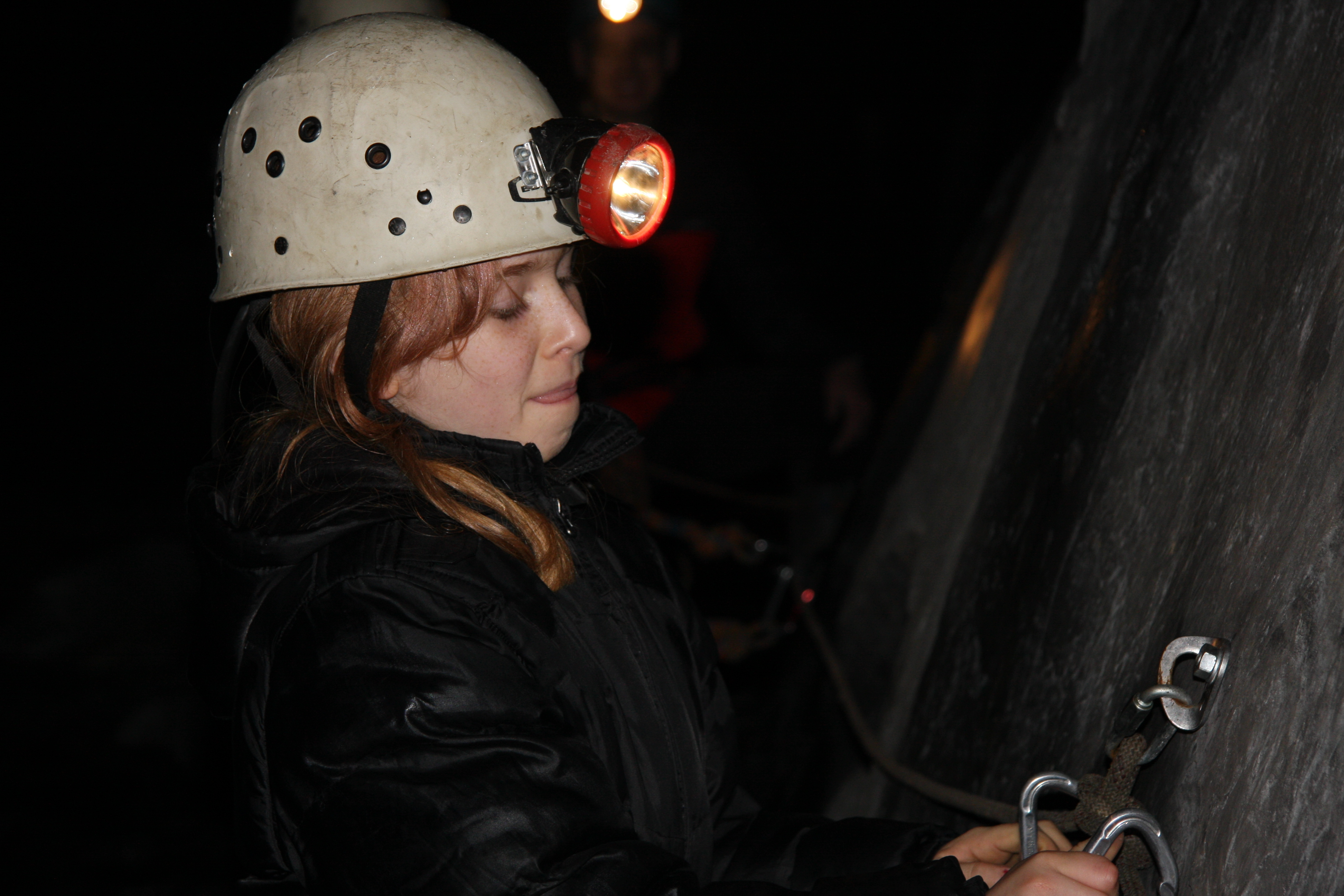 Clipping onto the safety ropes with Corris Mine Explorers