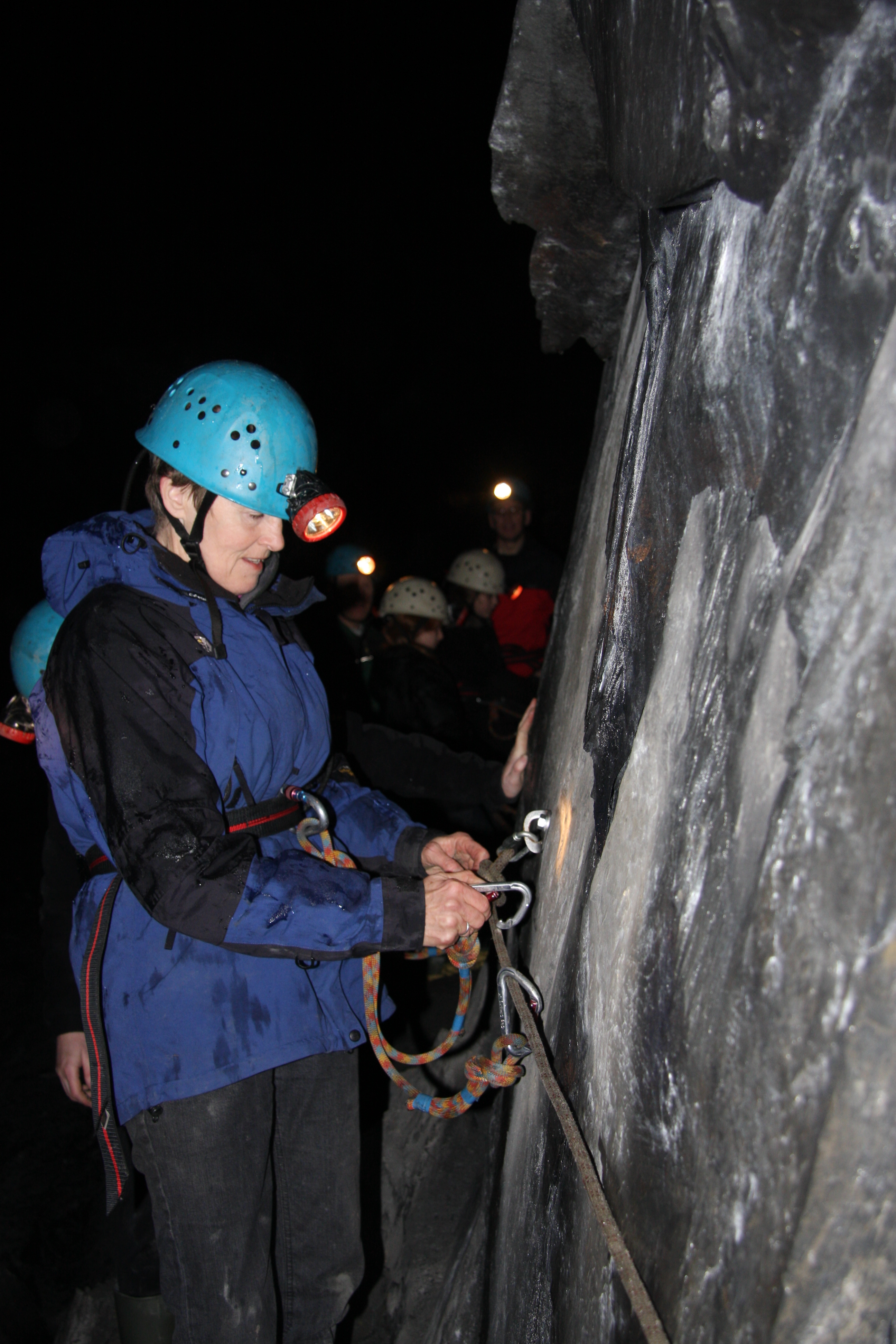 Clipping onto the safety ropes to explore the old Braich Goch slate mine