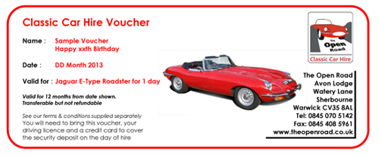 Classic Car Hire Voucher from The Open Road Warwickshire
