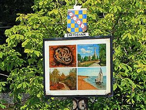 The colourful Snettisham village sign