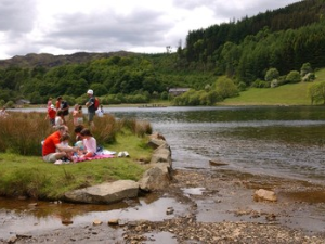Visitors at Llyn Geirionydd Gwydir Forest