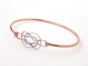 9ct white gold and rose gold Celtic bangle