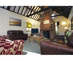 The living room with vaulted ceiling