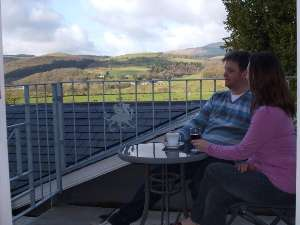 View over Dyfi Valley from bedroom balcony