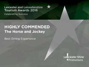 Highly Commended - Best Dining Experience