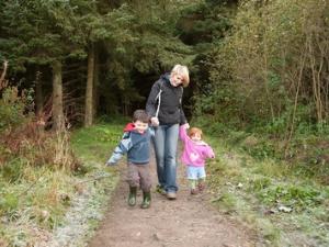 Family walking Coed Nercwys Moel Famua