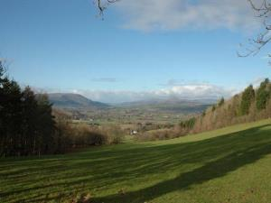 View over Usk Valley towards Black Mountains
