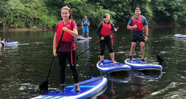 Stand-up paddle boarding River Wye Monmouth Wales
