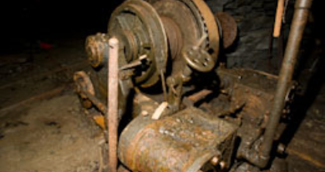 An abandoned winch in Corris Mine Explorers