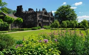 The rear of the house and formal garden