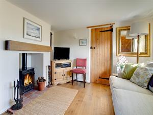Sitting room with television and woodburner